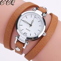 306кор - Наручные женские часы с коричневым ремешком