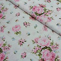 Сатин с розовыми букетами роз, ширина 160 см, фото 1