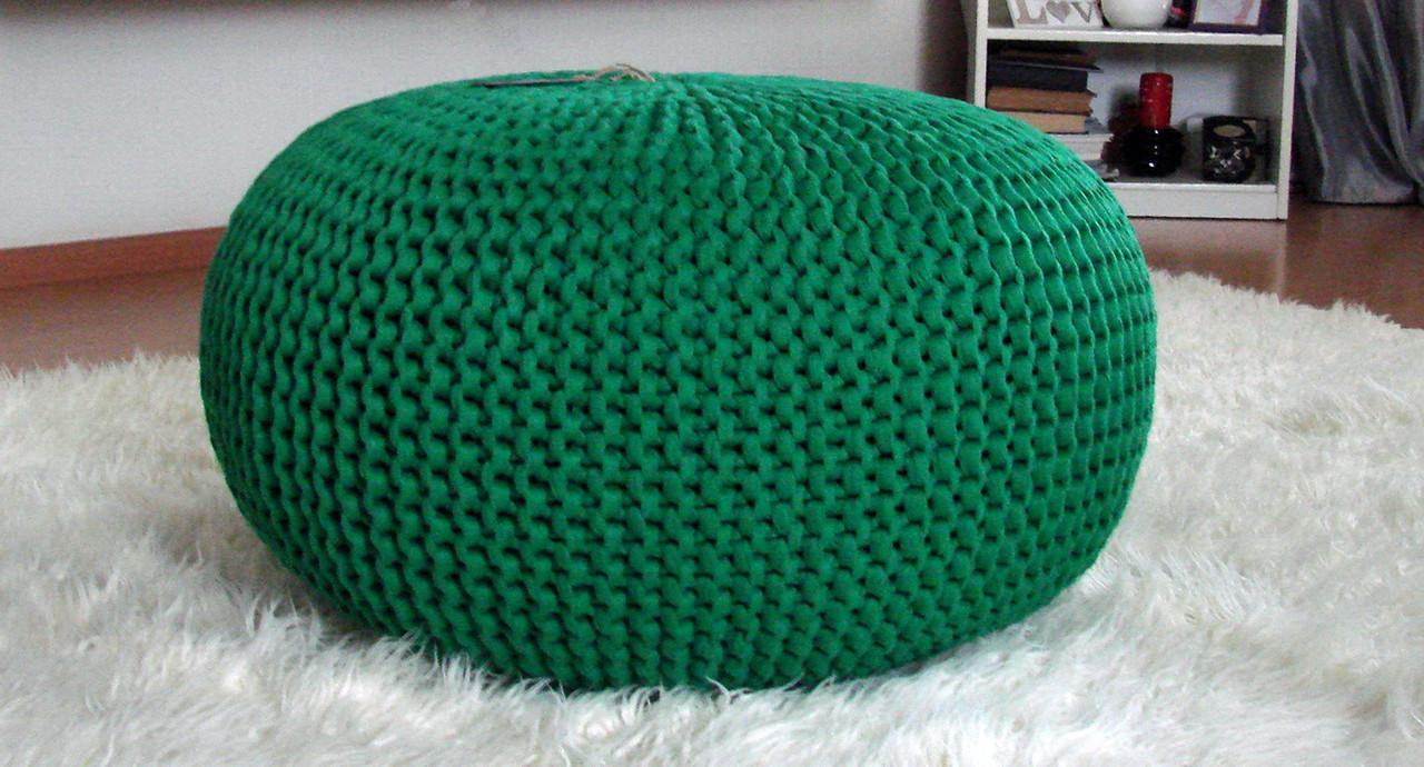 Пуф мягкий декоративный бескаркасный хлопок зеленый. - April House производство и продажа товаров для дома в Одессе
