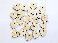 Пуговицы деревянные Лейблы (этикетки) бирки Сердечко (сердце) декоративные 2 см 25 шт/уп