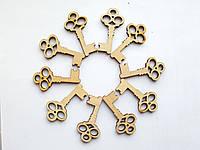 Ключики деревянные для скрапбукинга Лейблы (этикетки) бирки для декора (декоративные) 4x2 см 25 шт/уп