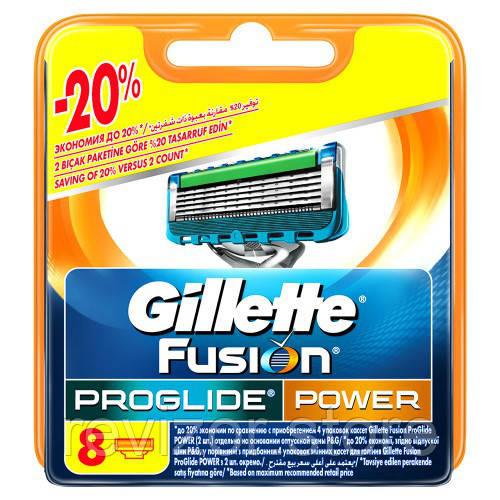 Картриджи  8 шт (В уп) (Original) - Gillette Fusion ProGlide Power, фото 1
