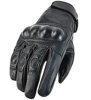 Кожаные тактические перчатки black, фото 1