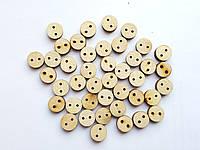 Пуговицы деревянные круглые Лейблы (этикетки) бирки декоративные 1 см 50 шт/уп