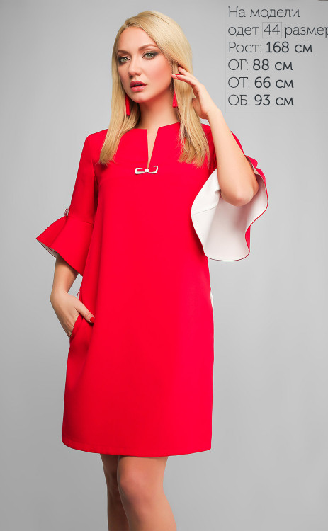 1f4ed9ae86f Красное прямое платье с карманами и рюшами на рукавах - купить по ...