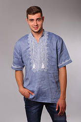 Мужская рубашка вышиванка с коротким рукавом Твори Мир