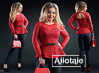 Костюм брючный блуза небольшая баска костюмка+шипюр 48,50,52,54