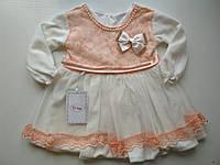 Велюровое детское платье с гипюром , фото 1