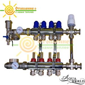 Коллектор Aqua-World для теплого пола в сборе с 3х-ходовым клапаном на 2 контура