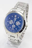 Мужские наручные часы (черный циферблат, серебристый ремешок)