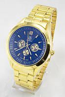 Мужские наручные часы (черный циферблат, золотой ремешок)