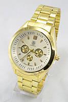 Мужские наручные часы (серебристый циферблат, золотой ремешок)