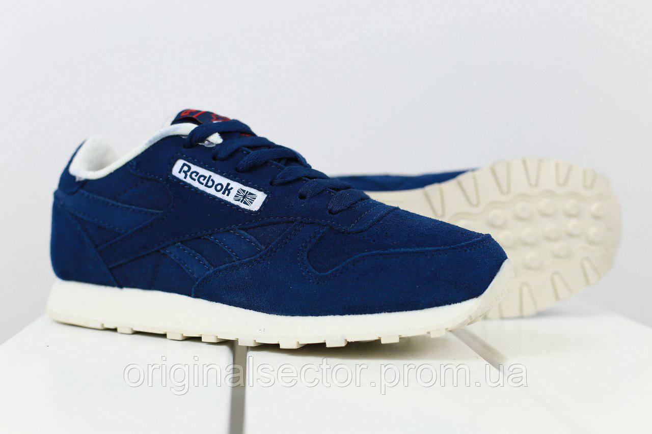 31c096ad88fc Темно-синие кроссовки Reebok женские из натуральной замши - интернет-магазин