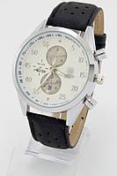 Мужские наручные часы (серебристый корпус, черный ремешок)