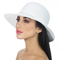 Пляжная шляпа белая с лентой из страз