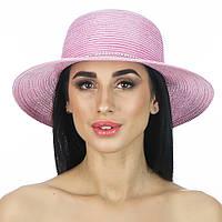 Пляжная шляпа розовая с лентой из страз