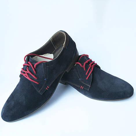 Мужская обувь украинских производителей Veber : замшевые туфли, синего цвета, на шнуровке красного цвета