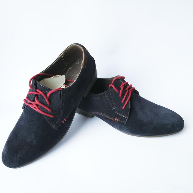 Харьковская обувь замшевые туфли синего цвета на красной шнуровке