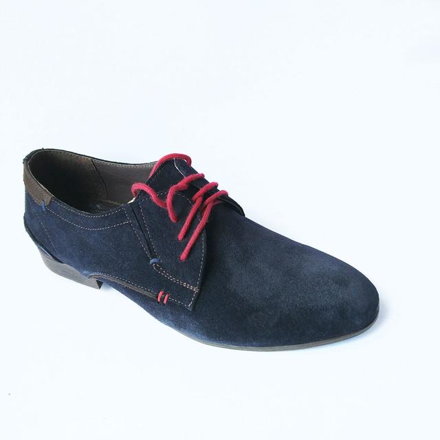 Харьковская обувь замшевые туфли на красной шнуровке синего цвета