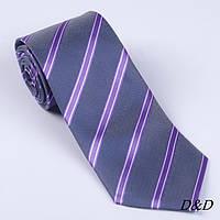 Галстук мужской классический 8см серый в фиолетовую полоску