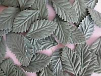 Декоративные листики из ткани, цвет пастельный зеленый, 34х19 мм, 10 шт.