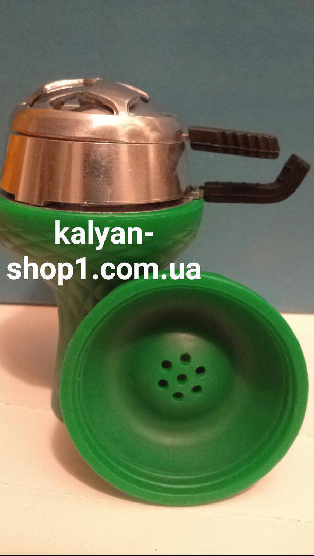 Чаша для кальяна Самарис зеленый на 7 отверстий  + Kaloud Lotus Калауд комплект