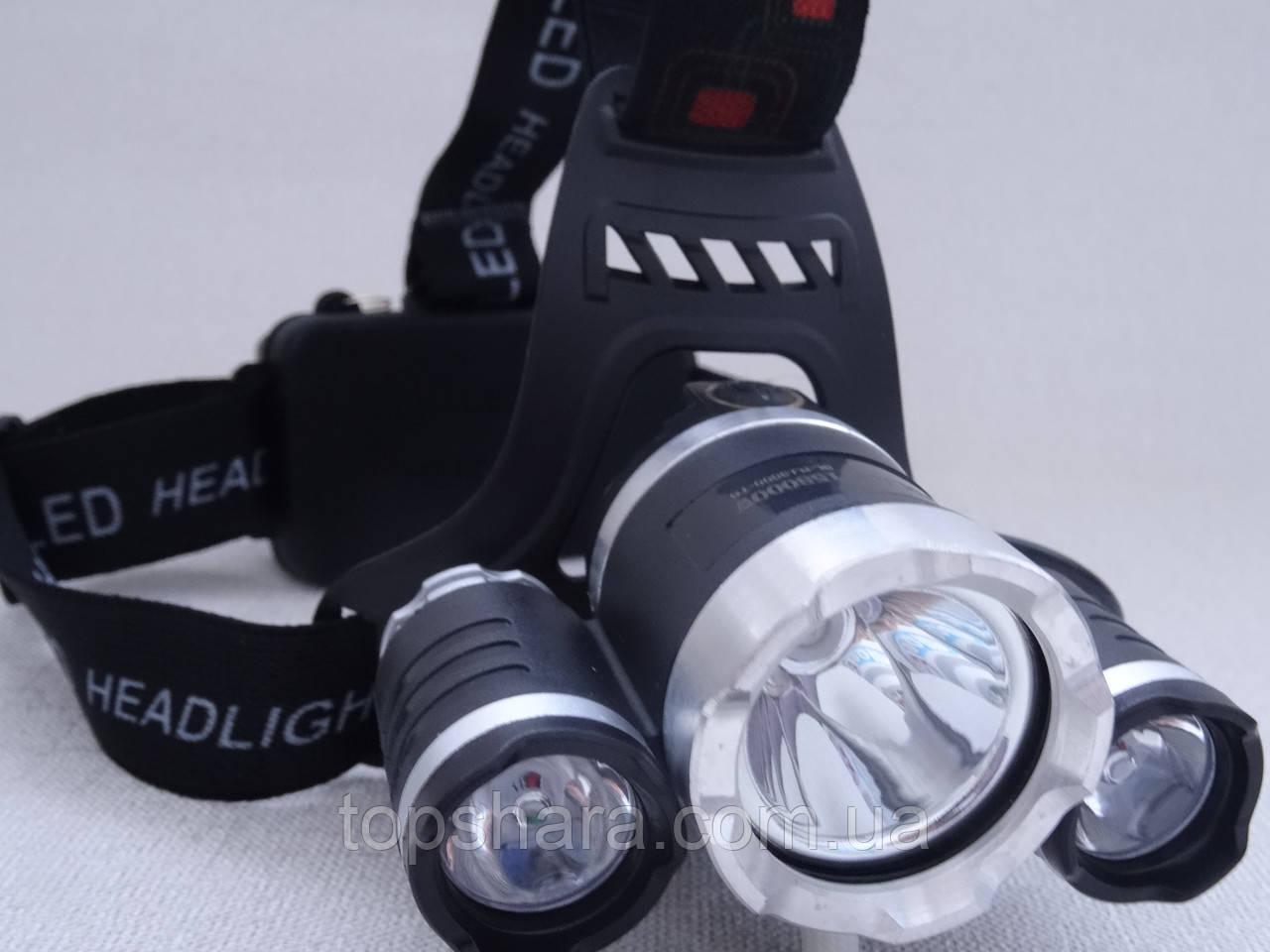 Головной фонарик Police BL RJ-3000 T6 диод +2 Led Gree 158000W
