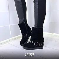 Модные женские черные ботинки на танкетке Венгрия