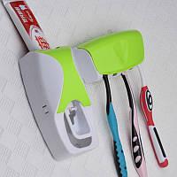 Автоматический дозатор для зубной пасты+подставка для зубных щеток(салатовый), фото 1