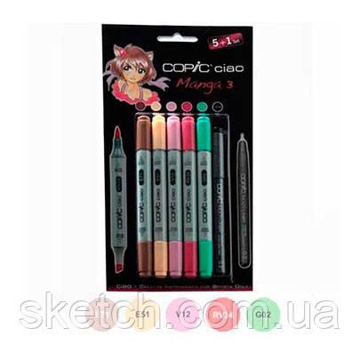 """Набор маркеров Copic Ciao Set """"5+1"""" Manga 3, цвета+лайнер"""