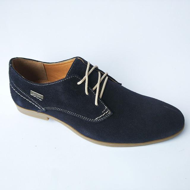 Молодежная харьковская мужская обувь замшевого  на шнуровке синего цвета