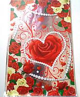 Пакеты подарочные полиэтилен Сердце, фото 1