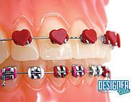 Эластичная лигатура на модуле 10шт. красное сердце