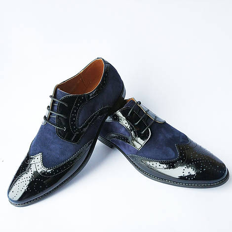 Туфли мужские Харьков Stas : классические, стильные туфли броги, синего цвета