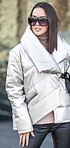 Короткая серебристая куртка из искусственной кожи с двубортным воротником на силиконе , фото 3