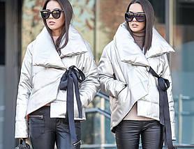 Короткая серебристая куртка из искусственной кожи с двубортным воротником на силиконе , фото 2