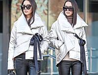 Короткая серебристая куртка из искусственной кожи с двубортным воротником на силиконе