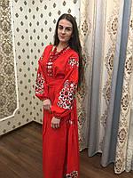 """Вишита сукня""""Павлін"""" тканина червоний льон"""