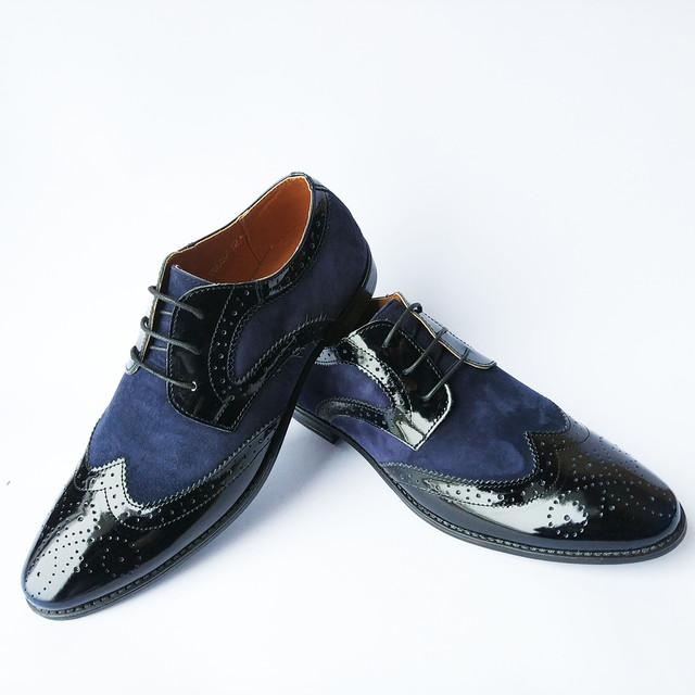 Стильные туфли мужские Харьков синего цвета на шнуровке классические