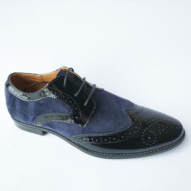 Стильные туфли мужские Харьков на шнуровке классические синего цвета