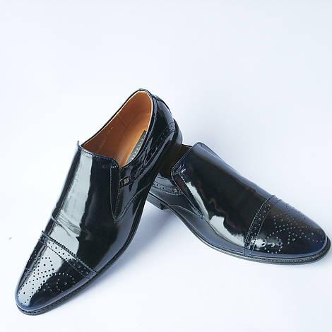 Мужская харьковская обувь Stas : классические, лаковые туфли броги, черного цвета