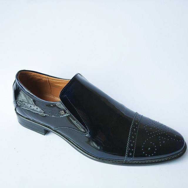 Оригинальная мужская харьковская обувь лаковая под ложку черного цвета