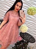 Элегантное вечернее женское платье дорогое кружево розовое, беж, бордо