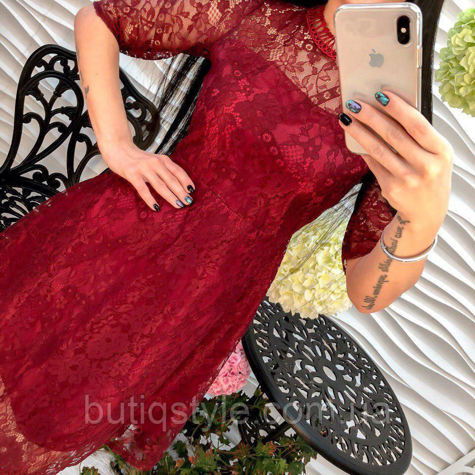 Элегантное вечернее женское платье дорогое кружево розовое