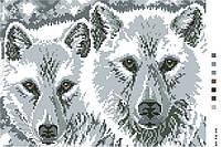 Картинка на канве А-4 Пара волков