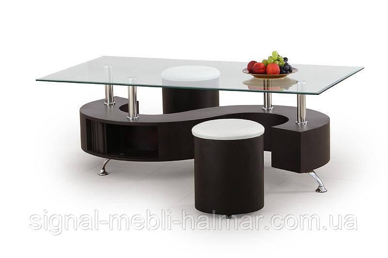 Стол с пуфами NINA (прозрачный) (Halmar)