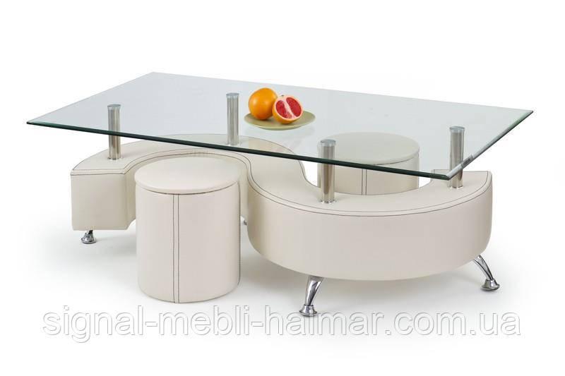 Стол с пуфами NINA 3 Н (белый) (Halmar)