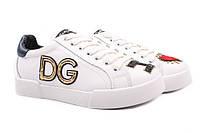 Туфли женские спортивного типа Dolce&Gabbana натуральная кожа, цвет белый (платформа, комфорт)