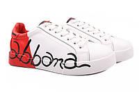Туфли женские спортивного типа Dolce&Gabbana натуральная кожа, цвет белый, красный (платформа, комфорт) 36