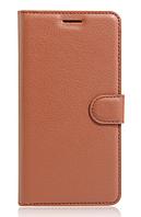 Кожаный чехол-книжка для Meizu M5 коричневый
